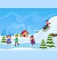 cheerful kids ice skating vector image