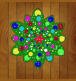 christmas tree of cookies with green glaze vector image vector image