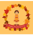 Circle Autumn Leaf Thanksgiving Indian Girl vector image