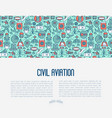 civil aviation concept contains thin line icons vector image vector image