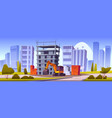 construction site unfinished house and excavator vector image