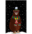 cute cartoon bear in kniting hat with gift on vector image