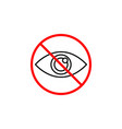 do not spy line icon prohibition sign forbidden vector image vector image