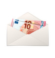 fake two ten euro banknotes in white paper vector image vector image