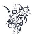 floral branch black flat decoration vector image vector image