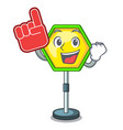 foam finger traffic sign isolated on the mascot vector image
