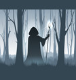 forest wizard silhouette vector image