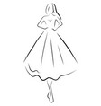 girl in a dress linear outlines a female vector image vector image
