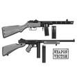 graphic retro submachine gun with ammo clip vector image vector image
