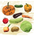 hand drawn vegetables set Watercolor effects vector image vector image