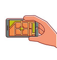 hand holding smartphone gps navigation map route vector image vector image