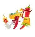 Happy chili peppers character in sombrero playing vector image vector image
