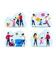 happy parenthood activities types flat set vector image vector image