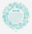 health care concept in circle with thin line icons vector image vector image