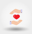 heard in a hand charity mercy icon vector image vector image