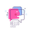 hello logo emblem with hello word and message vector image vector image