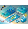Isometric Tile of Carribean Diving Holidays vector image vector image