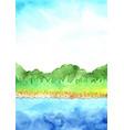 lakeside landscape watercolor background vector image