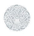 lion and flowers on white background vector image