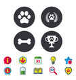 Pets icons dog paw sign winner laurel wreath