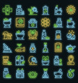 phytotherapy icons set neon vector image vector image