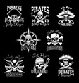 pirate skull with crossbone jolly roger icon set vector image vector image