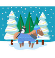 postcard animal in snowy forest xmas vector image vector image