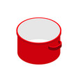 red open empty saucepan isolated isometric vector image
