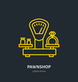 ring on scales in pawnshop jewelry vector image vector image