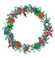 Round Christmas wreath with fir cones and gift vector image vector image