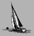 sailboat on a grey background vector image vector image