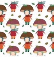 Seamless pattern with gnome mushroom cheerful vector image