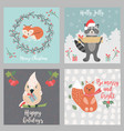 set of holiday greeting cards with cute forest vector image vector image