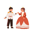 smiling children couple in king and queen carnival vector image vector image