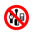 stop personal things ban keys and phone cards vector image vector image