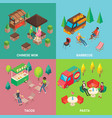 street food concept square poster set vector image
