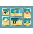 Summertime stamp set flat vector image vector image