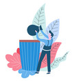 throwing rubbish away cleaning service worker vector image