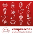 vampire outline icons vector image vector image
