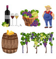 vineyard set collection farmer bottle glass vector image vector image