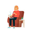 woman with laptop and cup earns money sitting in vector image