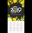 2019 calendar of vegetables vector image