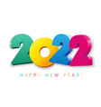 2022 happy new year 3d colored card vector image