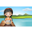 A girl with an aquarium standing at the diving vector image vector image