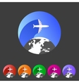 Airplane travel world globe tourism icon vector image