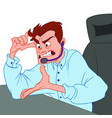 an angry man with headphones works in the office vector image