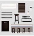 bar interior elements realistic set vector image vector image