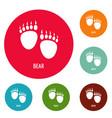 bear step icons circle set vector image vector image