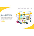 blogger review website landing page design vector image