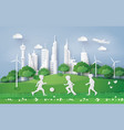 boy playing football in the city park vector image vector image